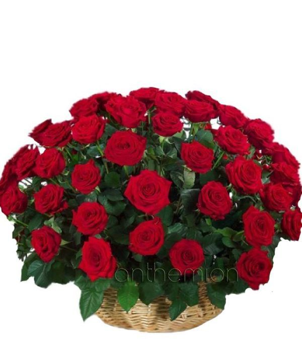 Arrangement with 60 red roses in basket