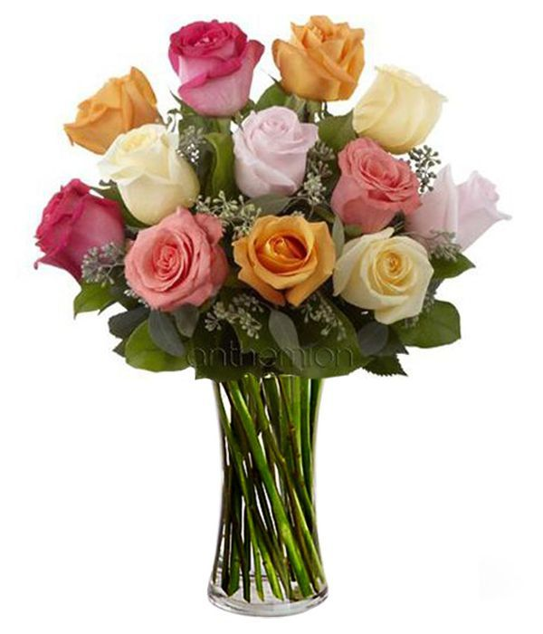 Bouquet of roses in pastel shades