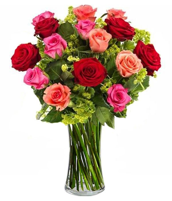 Bouquet of 15 colorful roses