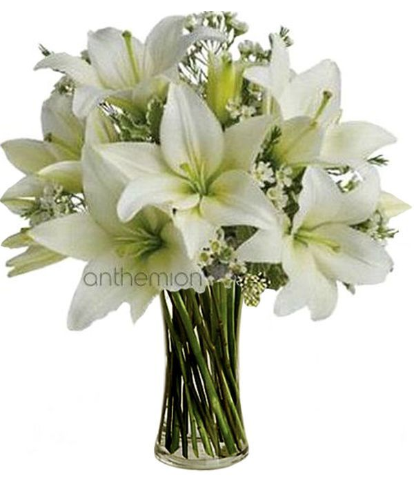 White oriental lilies and seasonal flowers