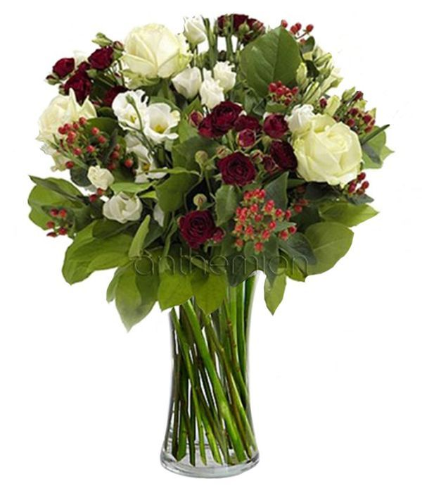 Bouquet of red and white flowers