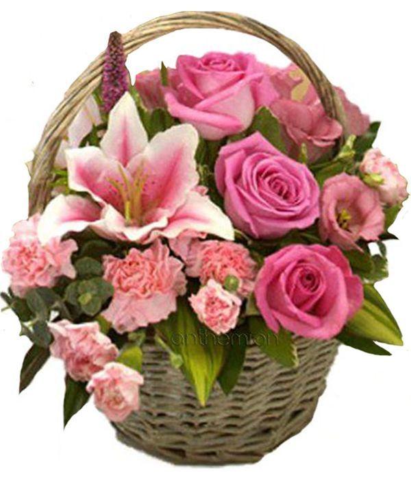 Basket with seasonal flowers in pink