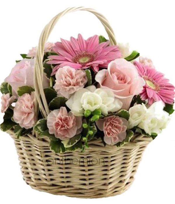Sweet floral basket arrangement