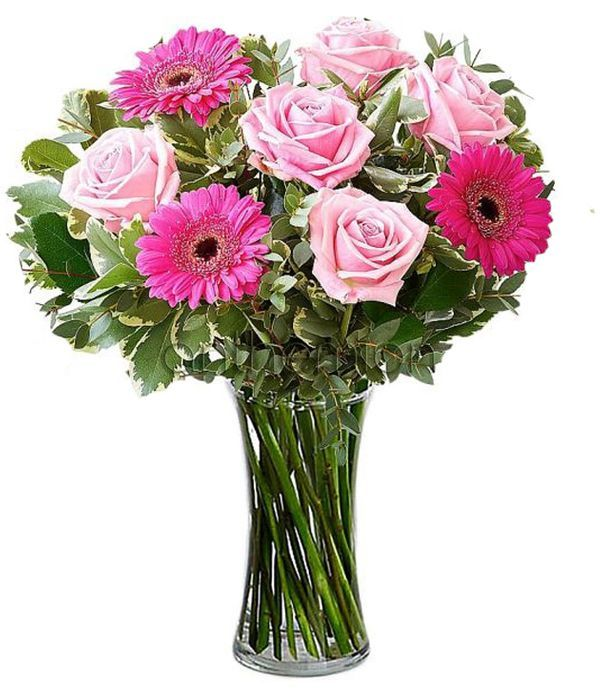 Ροζ τριαντάφυλλα και ζέρμπερες