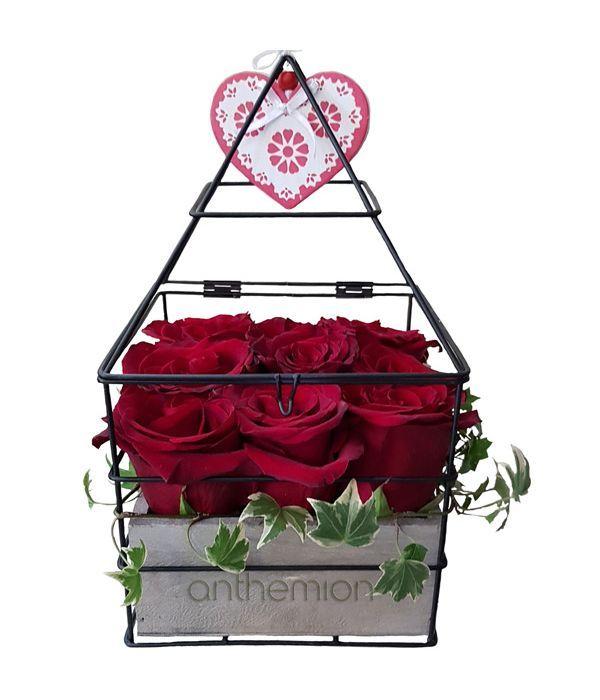 Love arrangement of red roses