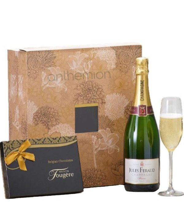 Champagne and Belgian Chocolates Gift Set