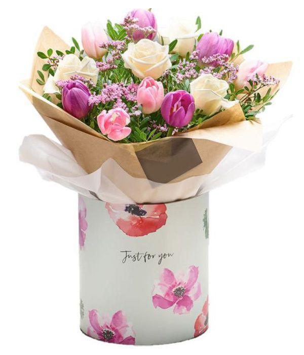 Pretty Rose and Tulip Gift Box