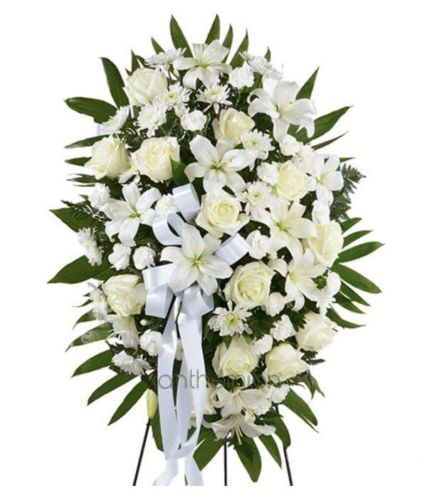 White Floral Tribute Standing Arrangement