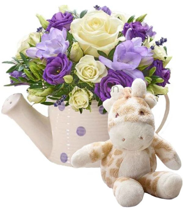 Purple Rain New Baby Arrangement with Giraffe