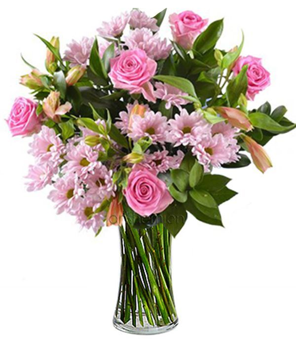 Pink roses with chrysanthemums