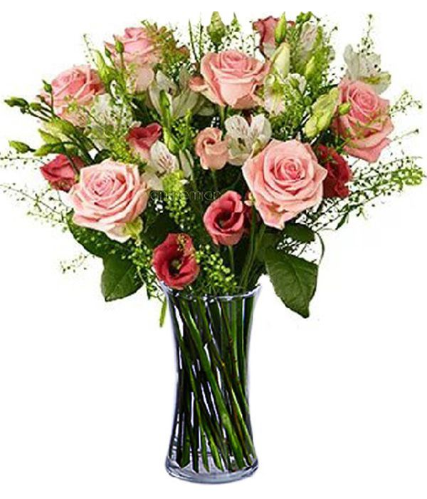 Roses with alstroemerias and eustomas