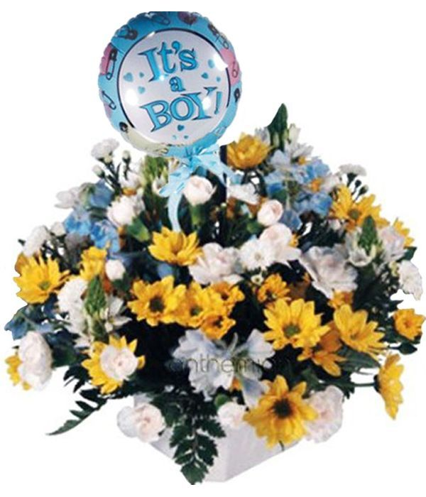 Yellow and blue flowers with baby balloon
