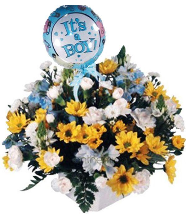 Λουλούδια γέννησης για αγοράκι με μπαλόνι