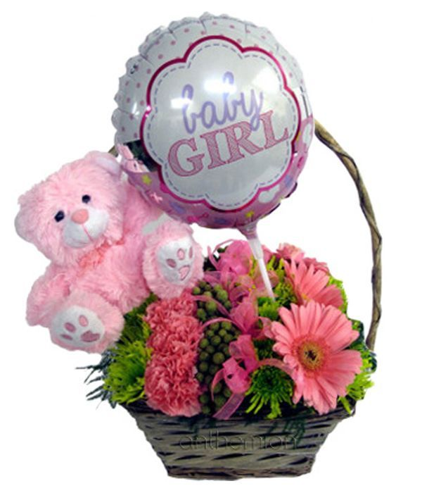 Flowers, teddy bear and balloon for baby girl