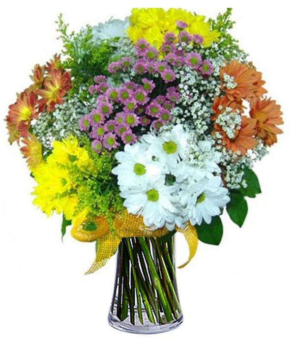 Rural bouquet with chrysanthemums
