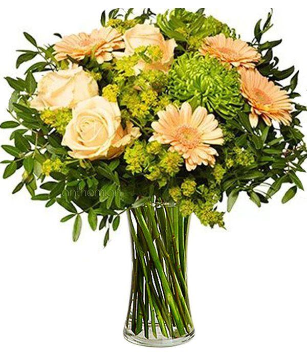 Cream roses and gerberas