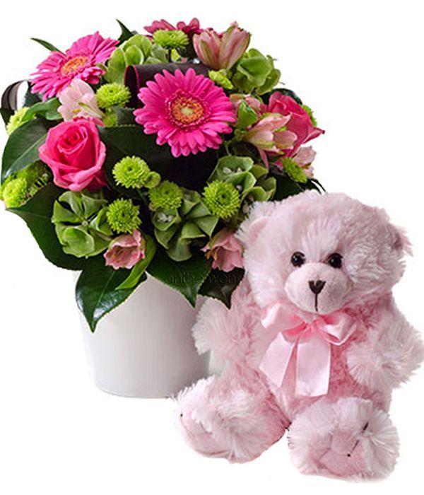 Ροζ όνειρο με αρκουδάκι για γέννηση