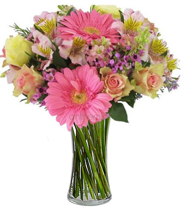Pink gerberas with yellow roses