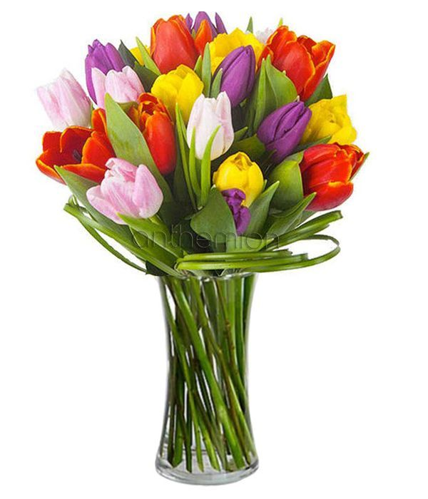 Rainbow tulips bouquet. Vase is not included