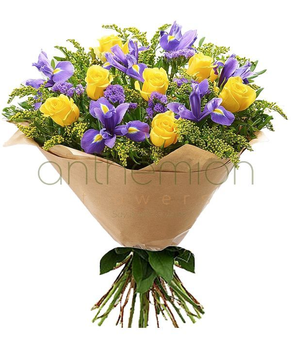 Send irises and yellow roses