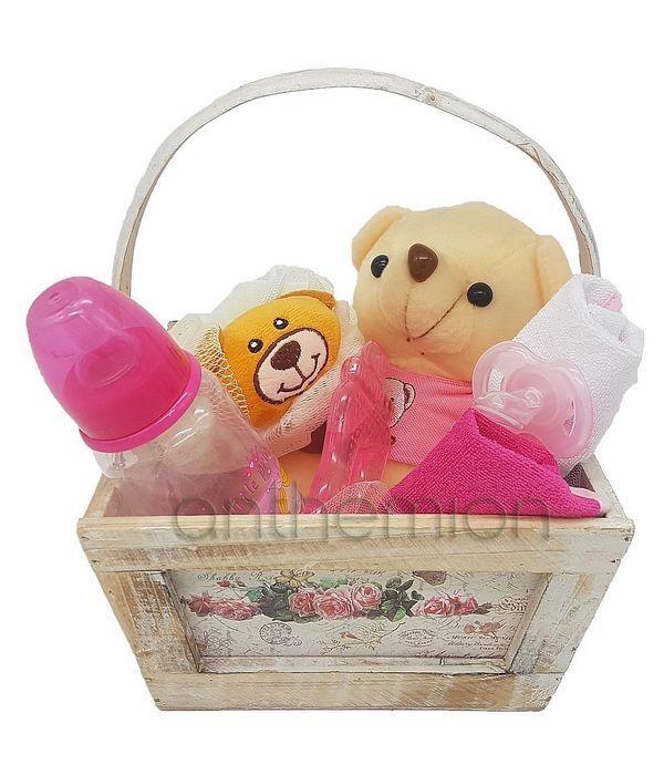 Wooden gift basket for baby girl