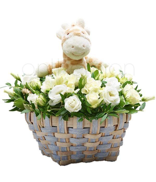 Καλαθάκι με λευκά λουλούδια και λούτρινο