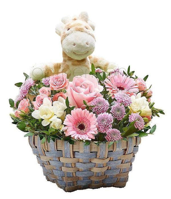 Καλαθάκι με λουλούδια και λούτρινο για κοριτσάκι