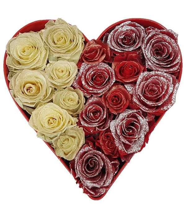 Καρδιά με δίχρωμα Forever roses