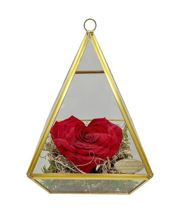 Παντοτινό τριαντάφυλλο καρδιά σε βάση πυραμίδα (XL μέγεθος)