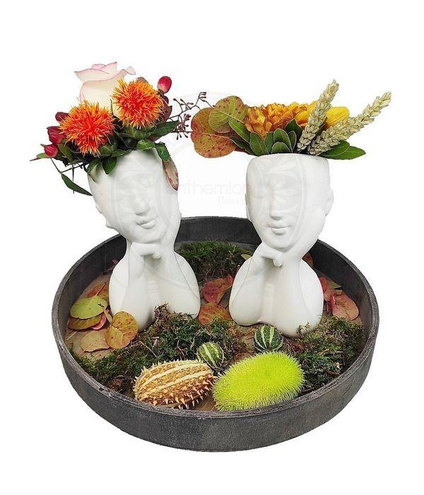 Κεραμικά κεφάλια με λουλούδια φθινοπωρινής διάθεσης
