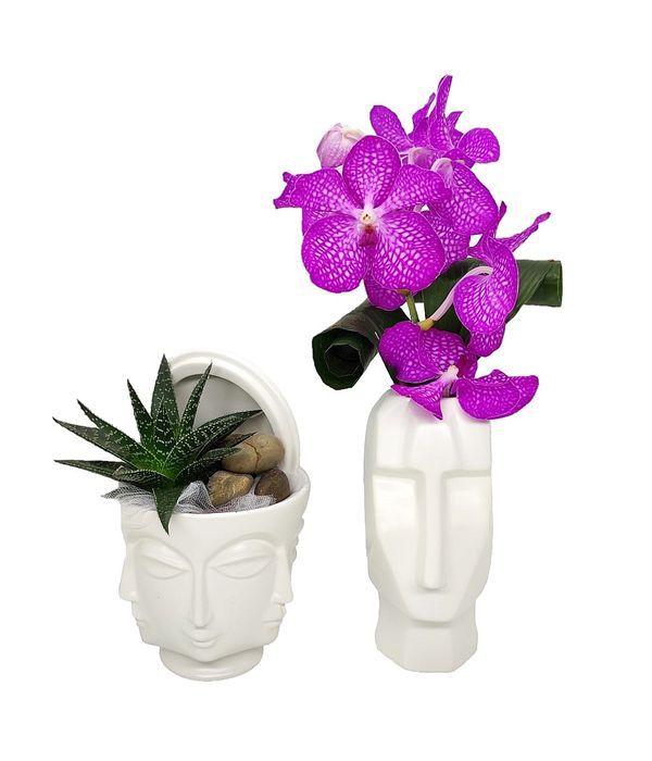 Διακοσμητικά κεραμικά κεφάλια με φυτά