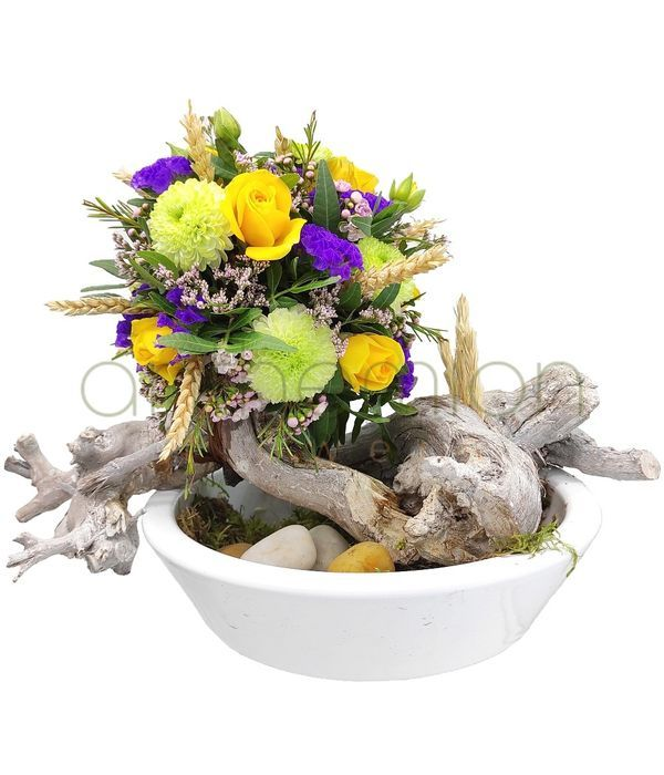 Ball of flowers in ceramic pot