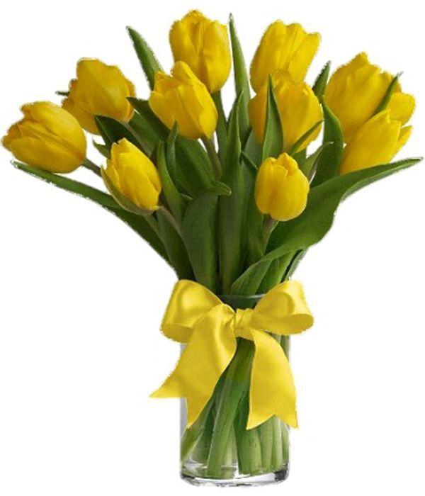 Αποστολή λουλουδιών με κίτρινες τουλίπες σε βάζο