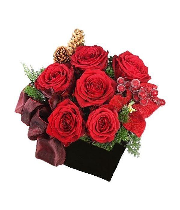 Κύβος με τριαντάφυλλα και Χριστουγεννιάτικη διακόσμηση