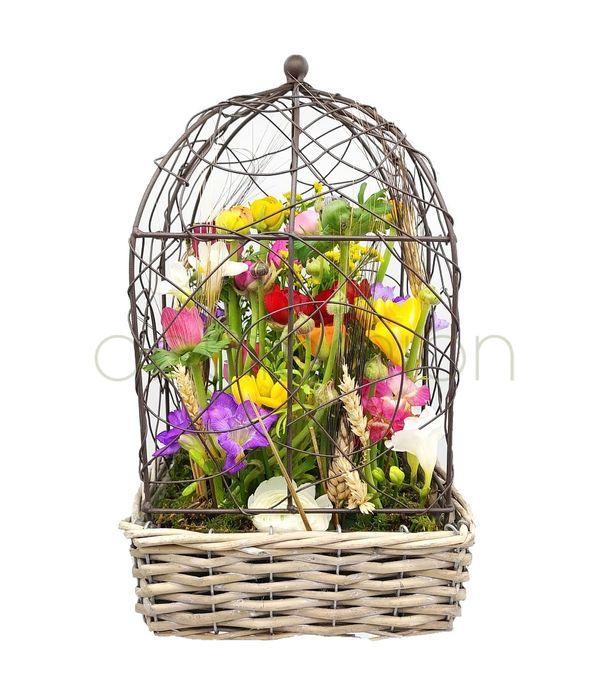 Διακοσμητικό κλουβί με ανοιξιάτικα λουλούδια