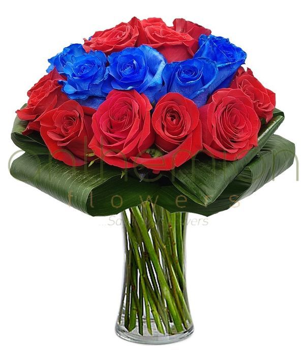 Blue and red roses bouquet