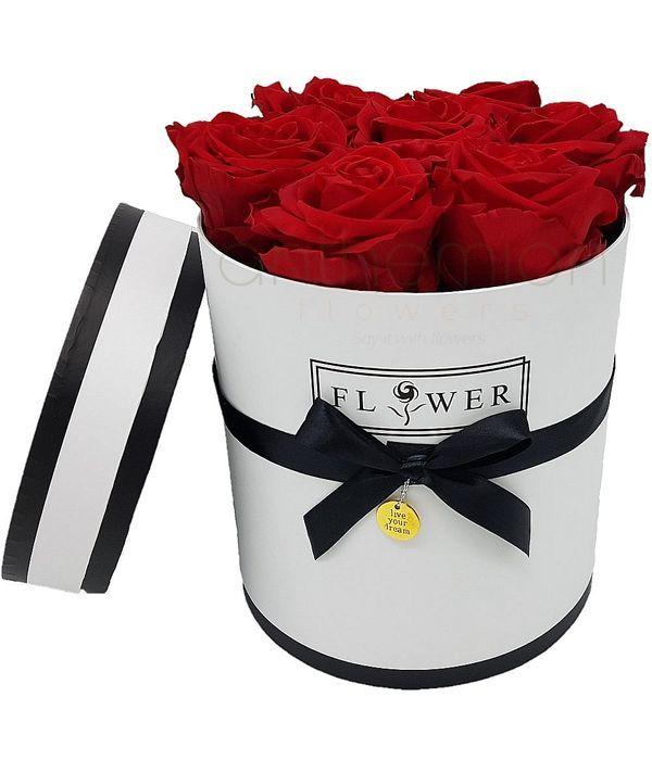 Λευκό κουτί με τριαντάφυλλα forever roses XL