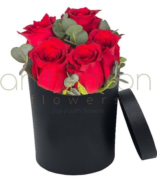 Red roses in black box