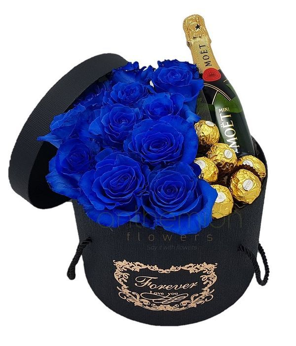 Blue gift in a box and moet