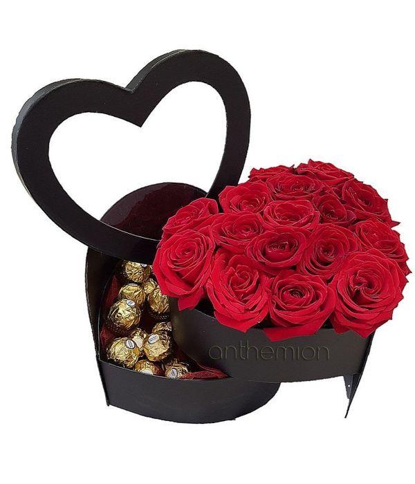 Τριαντάφυλλα με Ferrero σε περιστρεφόμενο κουτί