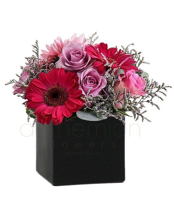 Αποστολή κύβος ροζ/φούξια άνθη