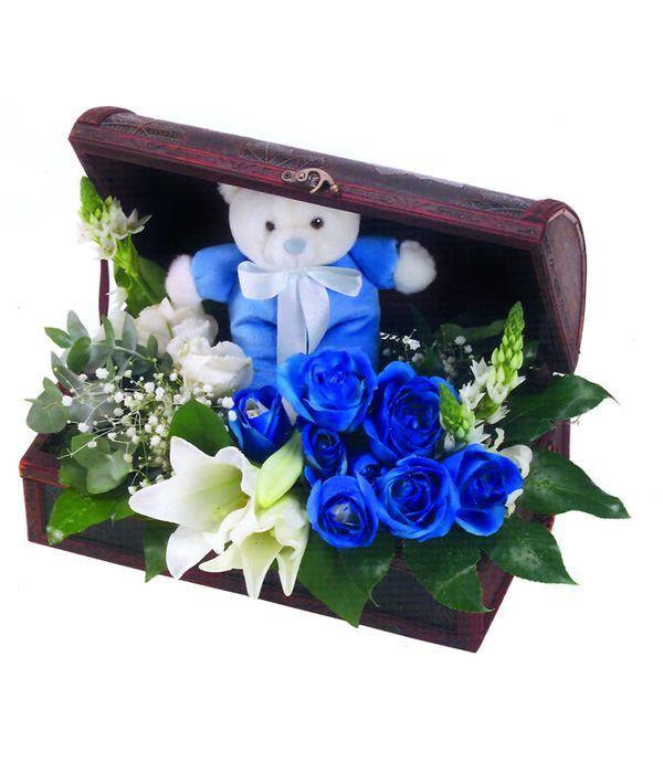 Μπαουλάκι με λουλούδια και αρκουδάκι