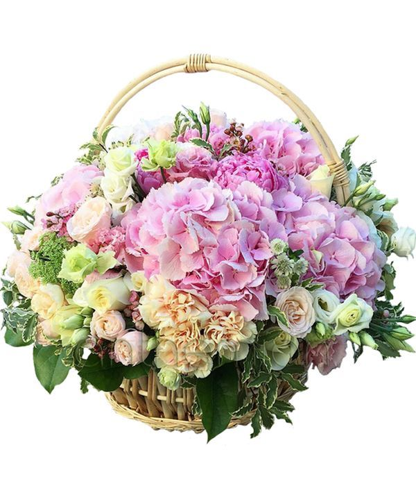 Roses and hydrangea in basket