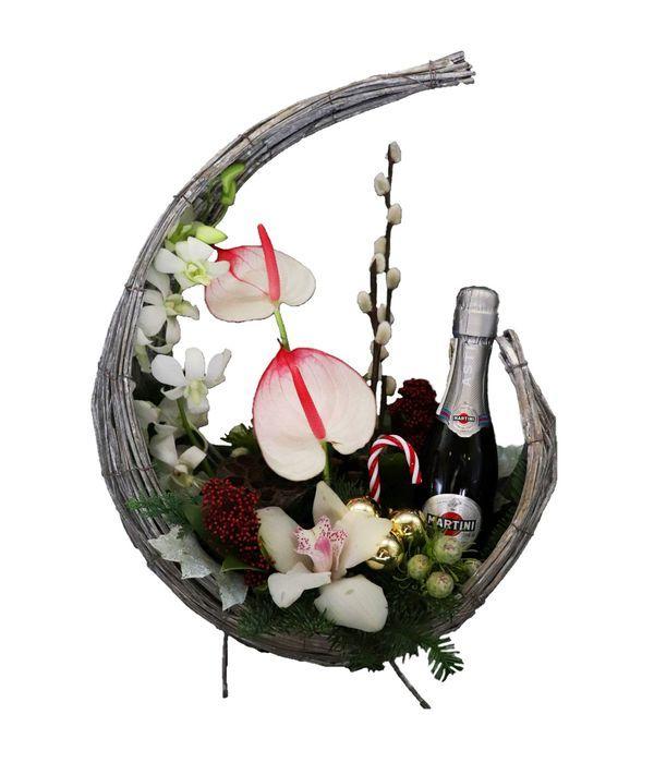 Λουλούδια και Μartini (200ml) σε μισοφέγγαρο