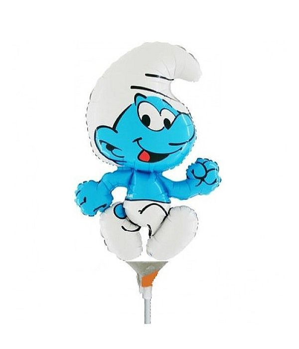 Smurf balloon with stick 25cm.