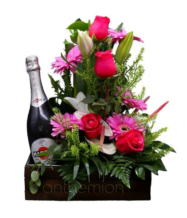 Pink flowers with Asti Martini