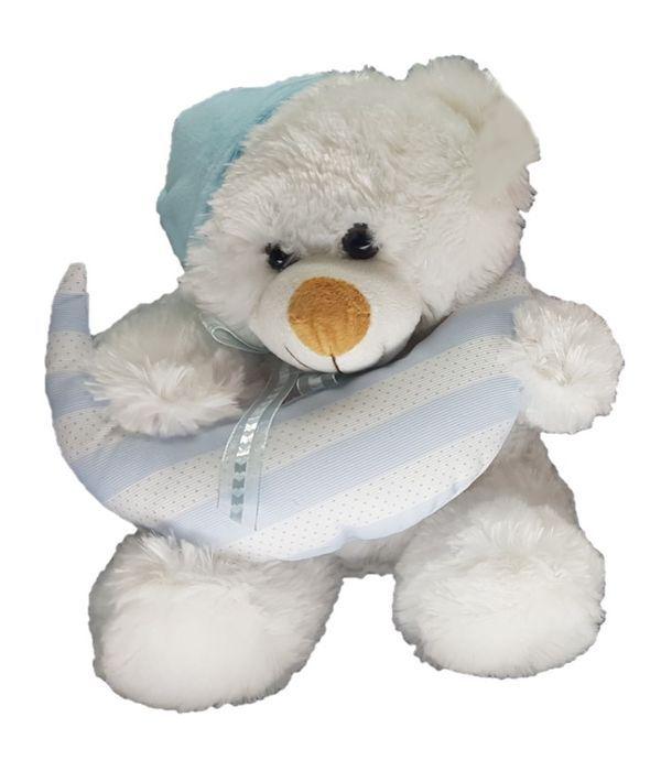 Blue teddy bear holding a moon 25cm