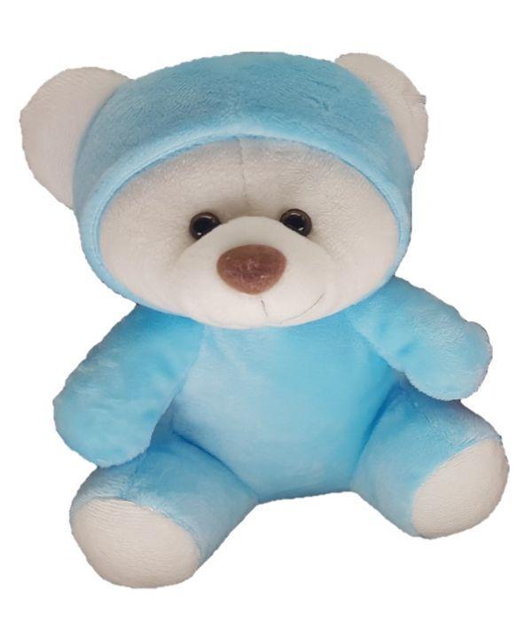 Blue teddy bear with cup 18cm