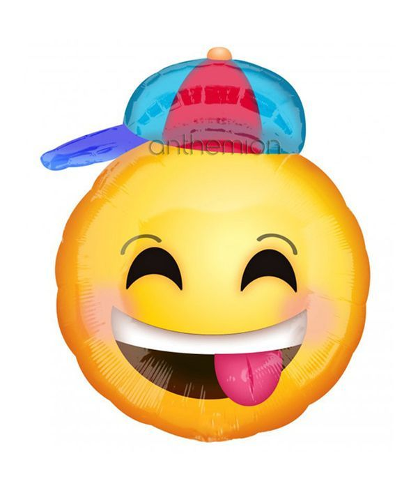 Balloon happy face with hat 20cm
