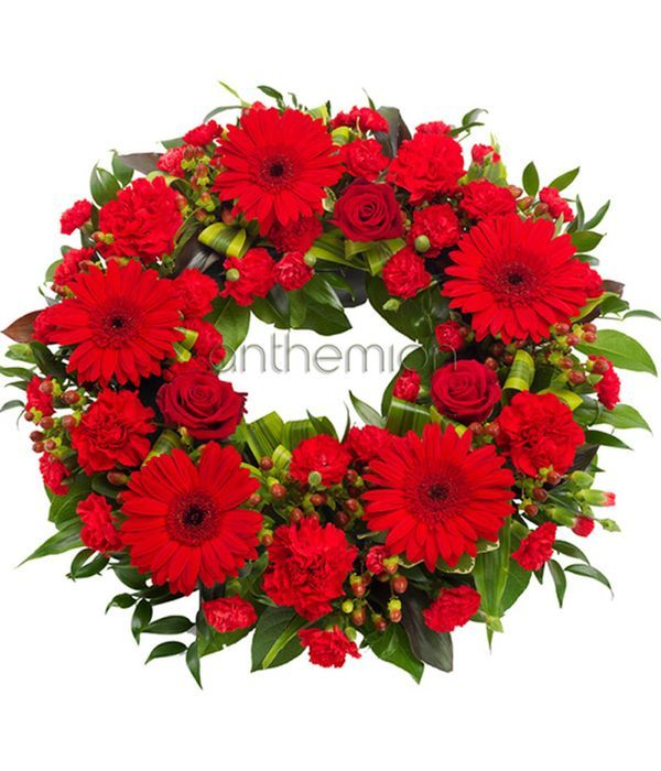 Red May flowers Wreath